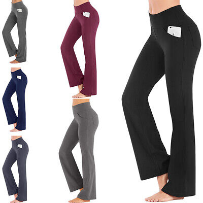 £6.99 • Buy Womens Fitness High Waist Yoga Pants Bootcut Flare Wide Leg Running Gym Trousers