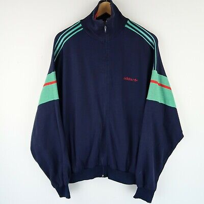 ADIDAS Vintage 80s Colourblock Track Suit Top Jacket Made In France SZ L (E3832) • 24.95£
