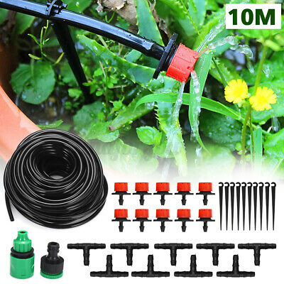 10M Micro Drip Irrigation Pipe Barbed Automatic Garden Watering Connector Plant • 9.40£
