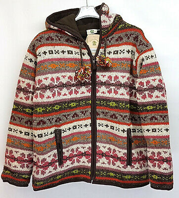 Sale Pachamama Chunky Knit Lined Wool Jacket Brown/cream/orange Hooded Zip M,l • 55£