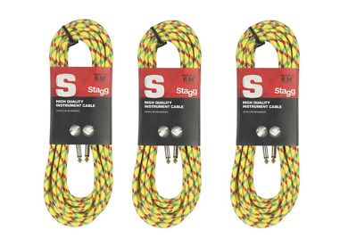 $ CDN40.34 • Buy Lot Of 3 Yellow 20 Foot Vintage Tweed Guitar Amp Cable Cord Stagg # SGC6VT YL