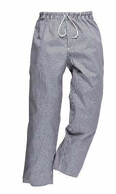 Portwest Bromley Check Chef Trousers Elastic Waist 100% Cotton Food C079 Small • 7.13£