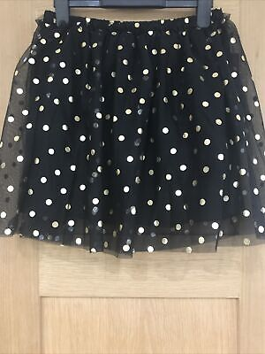 Brand New Girls Black With Gold Polka Dot Tulle Skirt Age 11-12 Years By M&S • 11£