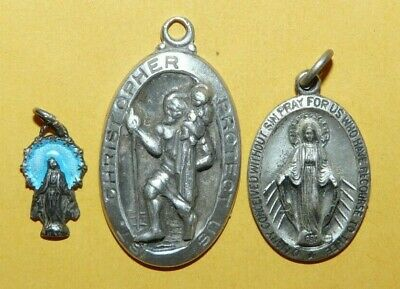 $ CDN18.92 • Buy ~vintage~lot~3~religious~sterling~silver~st. Christopher~miraculous~mary~medals~