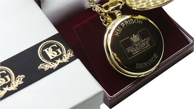 HM PRISON SERVICE Gold Pocket Watch Jail Warden Officer Luxury Gift Case HMP • 24.99£