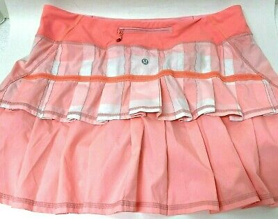 $ CDN81.20 • Buy Lululemon Size 10 Tall Pace Setter Skirt Skort Sea Check Multi Plaid Peach/Pink