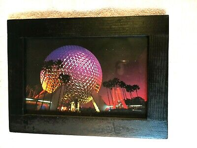 Epcot Center Spaceship Earth At Night In Black Framed Postcard • 2.89£