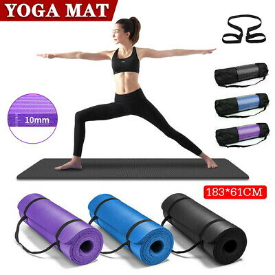 AU13.59 • Buy Thick Yoga Mat Pad 10MM NBR Nonslip Exercise Fitness Pilate Gym Durable AU