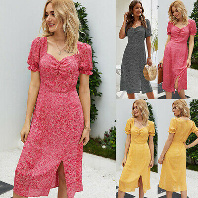 Women Midi Sundress Dresses Dress Polka Dot Summer Beach Evening Party Fitted UK • 10.69£