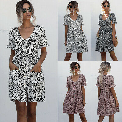 Womens Polka Dot Button Dresses Mini Dress Ladies Summer Holiday Party Sundress • 12.57£
