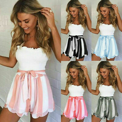 Women Striped Summer Shorts Holiday Beach Ladies High Waisted Hot Pants Size6-18 • 6.99£