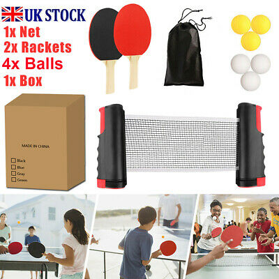 Table Tennis Kit Ping Pong Set Portable Retractable Net 2 Bats 4 Ping Pong Balls • 12.50£