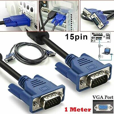 £2.75 • Buy VGA Cable 1M SVGA HD15 Male To Male D-Sub Cable For PC Monitor LCD TV ProjectorV