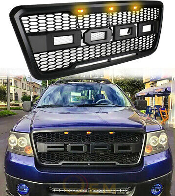 $112.86 • Buy For 2004-2008 Ford F150 Grille Raptor Style Matte Black Front Hood W/ LED OEM