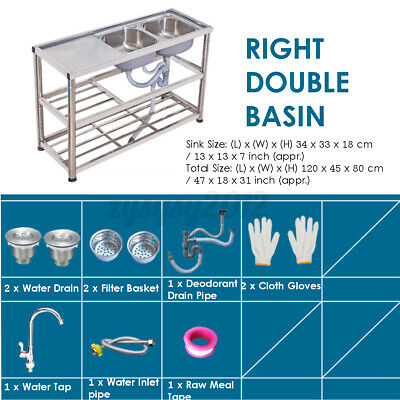 £204.95 • Buy 3 Tier Commercial Catering Kitchen Stainless Steel Sink Double Bowl Right Hand