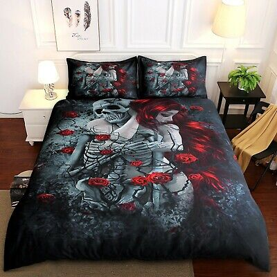 Gothic Skull Duvet Quilt Cover 3D Bedding Set With Pillowcases Double King Size • 26.99£