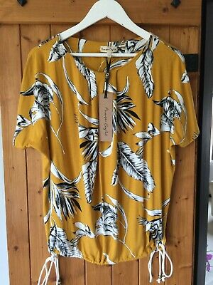 Bnwt New Phase Eight Ladies Top Size 12 Ochre Lalita Printed Tee Palm String Tie • 22.50£