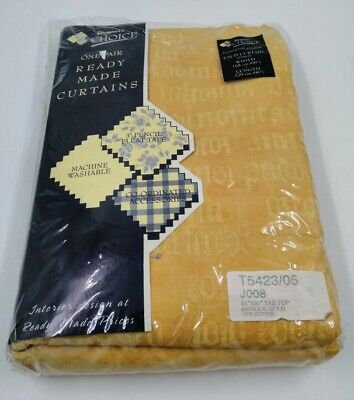 #2 Designers Choice TAB TOP Each Curtain 66 X 90  Antique Gold BRAND NEW IN PACK • 9.99£