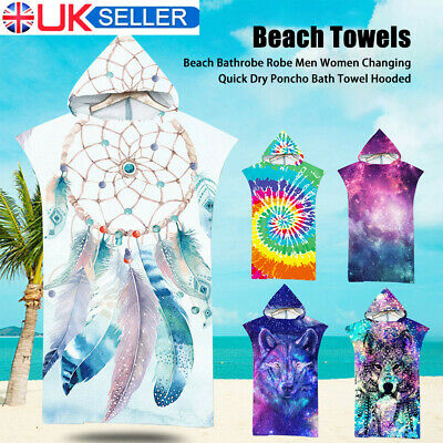 £15.55 • Buy Adult Beach Changing Towel Microfiber Surf Bath Robe Poncho One Size Hooded New