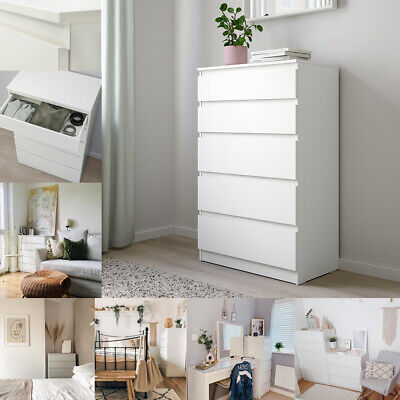 NEW IKEA KULLEN Bedside Room Furniture Chest Of 5 Drawers Storage White 70x112cm • 99.99£