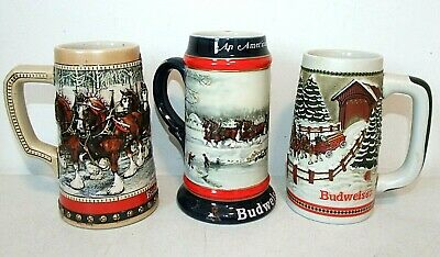 $ CDN27.74 • Buy Lot Of 3 Vintage BUDWEISER HOLIDAY BEER STEINS Clydesdales 1984 1988 1990