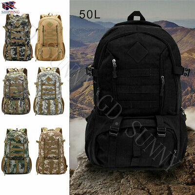 £15.49 • Buy 50L Military Outdoor Tactical Army Backpack Rucksack Camping Hiking Trekking Bag