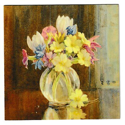 Margaret Tarrant Primroses & Crocuses In A Glass Vase Blank Medici Greeting Card • 1.99£