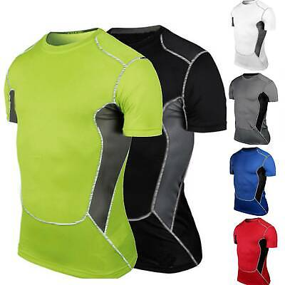 Mens Short Sleeve Compression Base Layer Tops Joggers Gym Fitness Sports T-shirt • 11.69£