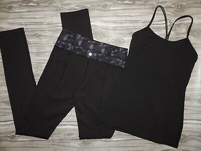 $ CDN38.05 • Buy LOT Of 2 LULULEMON Long Leggings Reversible & Tank Top BLACK Sz 4