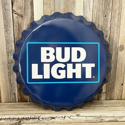 $ CDN50.58 • Buy Bud Light Beer Bottle Cap Large 18  Metal Aluminum Sign Garage Bar Budweiser New