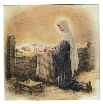 Margaret Tarrant Mary Kneeling By Jesus In The Manger Christmas Greeting Card  • 1.85£