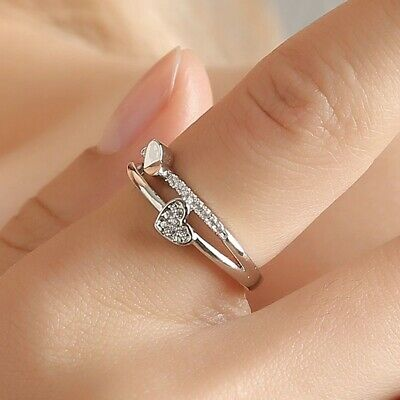 AU0.64 • Buy Engagement Ring-For Women Double Heart Crystal
