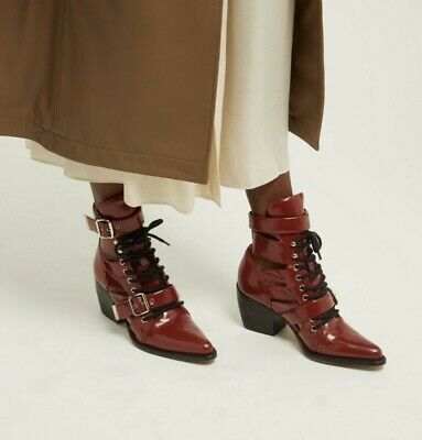£209.99 • Buy New CHLOE RYLEE Cutout Boots.Deep Red.uk 5/38(fits 4.5).£980