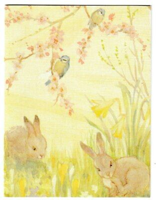 Margaret Tarrant Bluetits And Rabbits Medici Easter Card • 1.75£