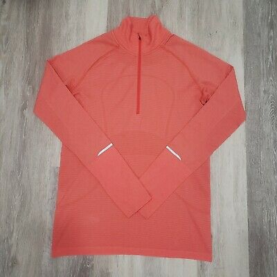 $ CDN84.91 • Buy Lululemon Size 12 Swiftly Tech 1/2 Zip Heathered Grapefruit Run Long Sleeve Top