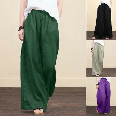 £12.99 • Buy Womens Baggy Wide Leg Pants Casual Loose Palazzo Flared Trousers