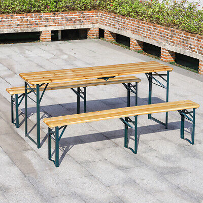 £159.95 • Buy Folding Wooden Garden Beer Table Bench 8 Seaters Chairs Outdoor Patio Picnic Set
