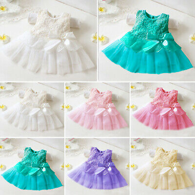 Baby Girls Princess Tutu Tulle Dress Party Lace Flower Prom Wedding Bridesmaid • 10.89£
