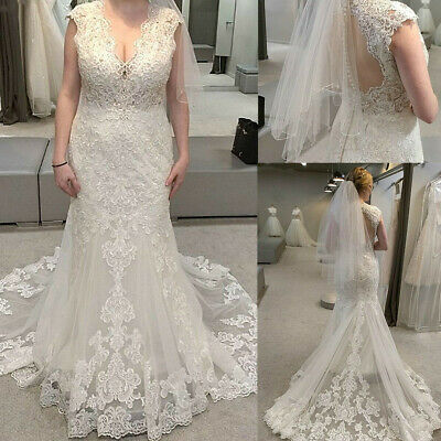$ CDN177.72 • Buy Mermaid V-Neck Wedding Dresses Lace Beaded Sequins Illusion Backless Bridal Gown