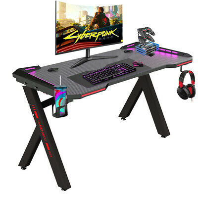 £109.99 • Buy Adjustable LED Gaming Desk Computer Table W/Cup Holder Headphone Hook Cable Hole