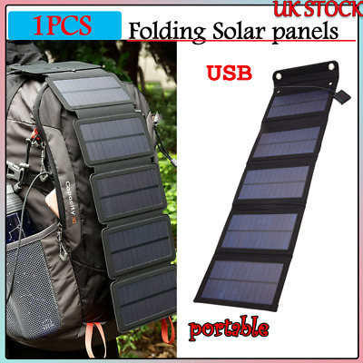 £21.39 • Buy 5V Solar Panel 5 Folding Portable Power Charger USB Camping Travel For Phone UK