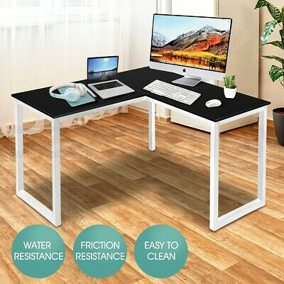 AU119.95 • Buy L Shaped Computer Desk Home Office Desk Gaming Study Writing Desk Black