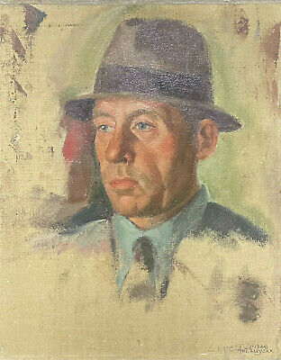 £295 • Buy 1940's POST-IMPRESSIONIST SIGNED OIL - PORTRAIT OF MAN WEARING A HAT