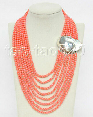 $134.99 • Buy Natural 16 -23  8row Round Pink Coral Beads Necklace 925s Mabe Pearl Clasp K283