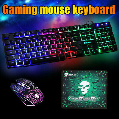 AU25.49 • Buy LED Gaming Keyboard And Mouse Set Wired USB Ergonomic For PC Laptop PS4 Xbox One
