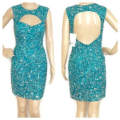 £70.46 • Buy Scala Womens Turquoise Formal Pagent Sequin Silk Mini Cocktail Dress Size 8