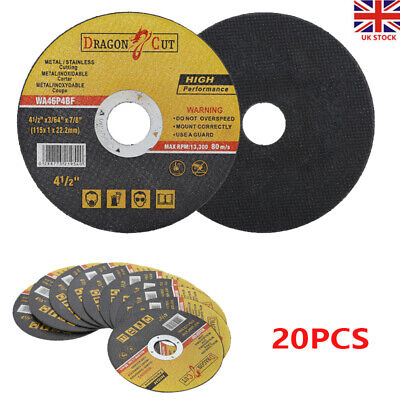 £5.99 • Buy 20PC 115mm 4.5  ULTRA THIN METAL CUTTING BLADE DISC 1/2  STEEL & STAINLESS 1MM