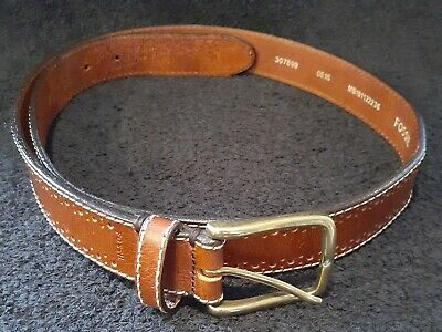 $9 • Buy Fossil Mens Brown Leather Belt  Sz 36 Genuine Leather Top Stitched