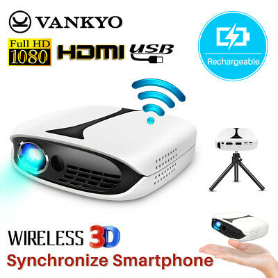 VANKYO Burger 101 Pocket Projector DLP Rechargeable 1080P 3D Support HDMI & WIFI • 159£