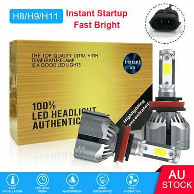 AU19.81 • Buy 2pcs H11 H8 H9 LED Headlight Kit Globe Bulbs High Or Low Beam White 200W 30000LM